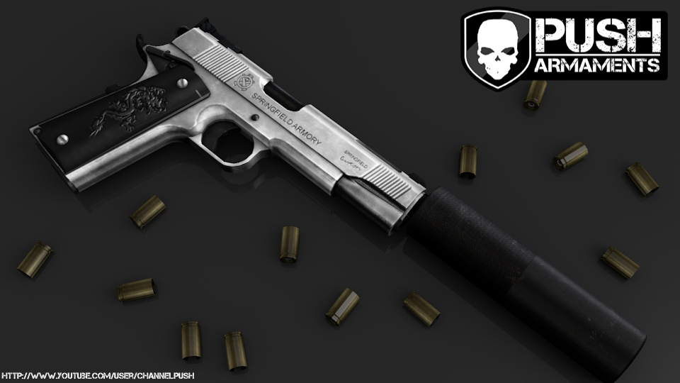 Silver Colt 1911 Suppressed - GTA4