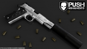 Silver Colt 1911 Suppressed