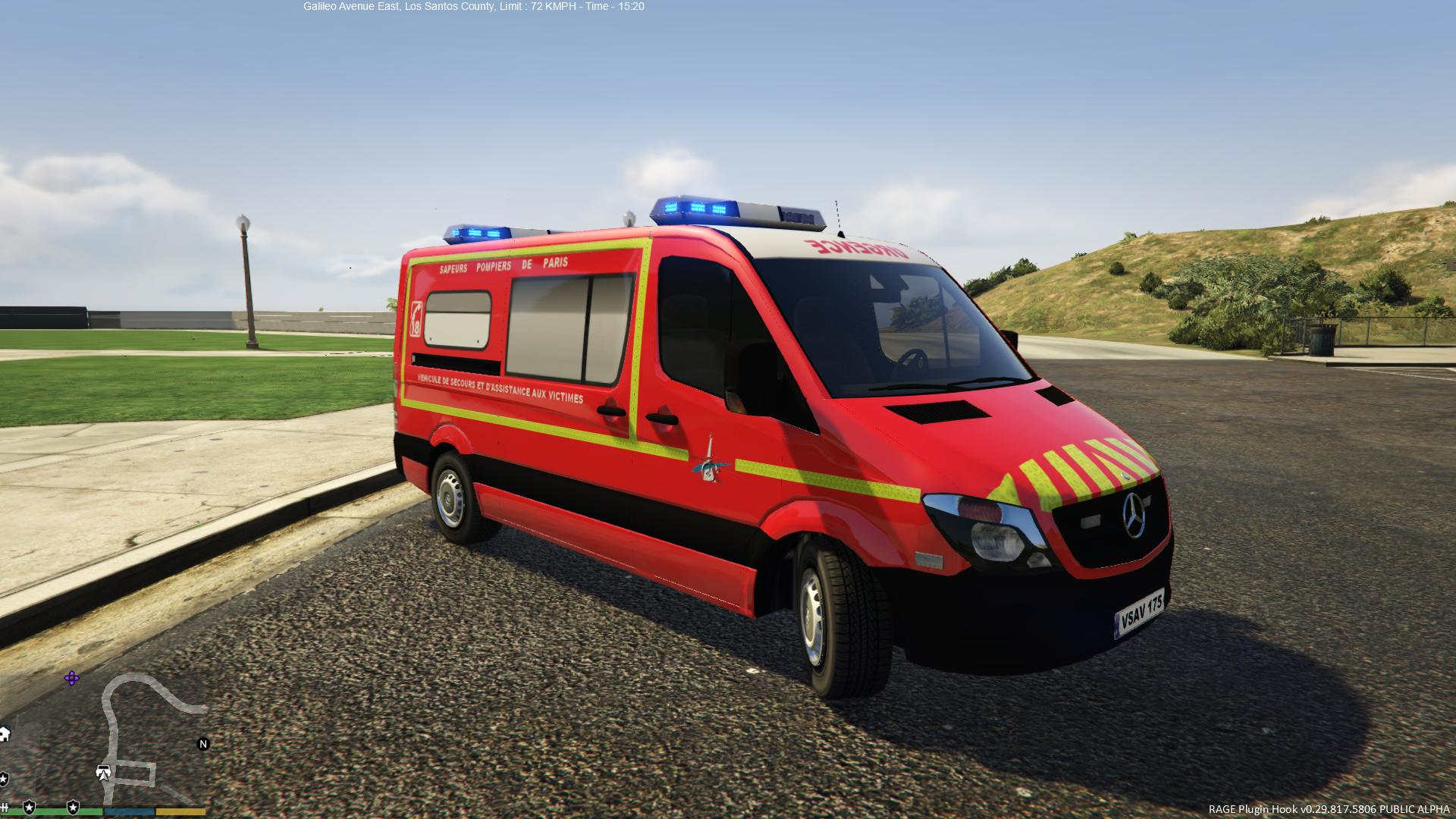 mercedes sprinter vsav sapeurs pompiers de paris vehicules pour gta v sur gta modding. Black Bedroom Furniture Sets. Home Design Ideas
